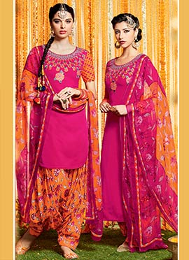 Magenta Pure Cotton Satin Patiala Suit