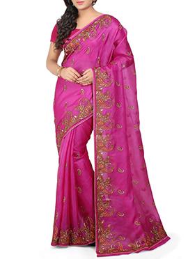 Magenta Pure Silk Saree