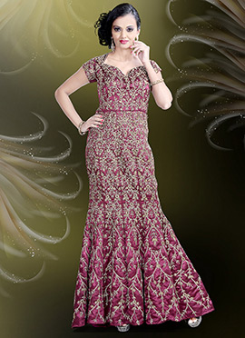 Magenta Satin Blend Mermaid Gown