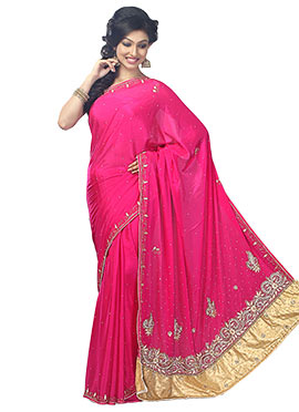 Magenta Satin Chiffon Embellished Saree