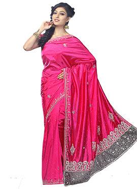 Magenta Silk Embellished Saree