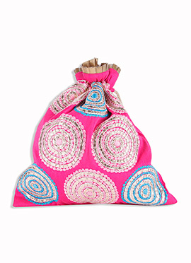Magenta Silk Embroidered Potli Bag