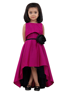 Magenta Taffeta A Symmetrical Kids Dress