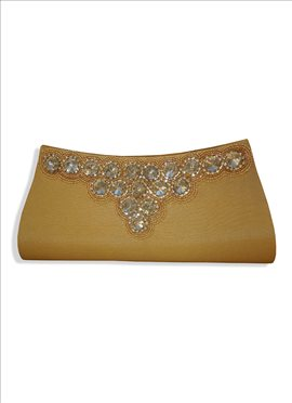 Magnificent Beige Art Dupion Silk Clutch