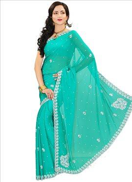 Magnificent turquoise chiffon saree