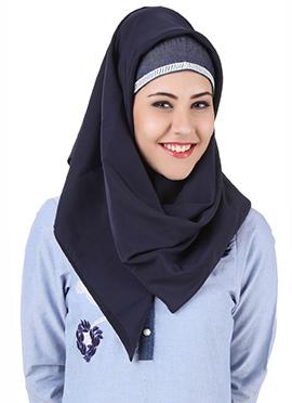 Mahek Navy Blue Polyester Hijab