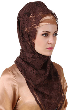 Mahrosh Brown Flower Net Hijab