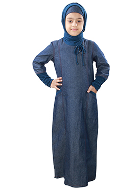 Maira Blue Denim Kids Abaya