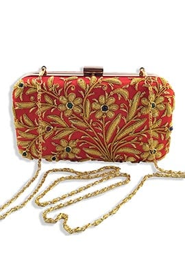 Majrooh Silk Coral Red Box Clutch