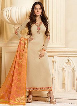 Malaika Arora Beige Embroidered Straight Suit