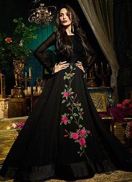 Malaika Arora Black Abaya Style Anarkali Suit