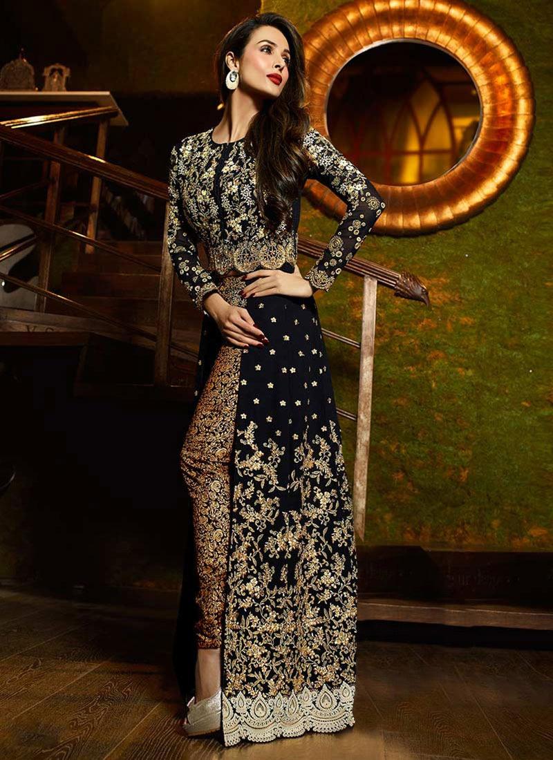 Buy Malaika Arora Black Georgette Straight Pant Suit