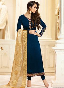 Malaika Arora Blue Embroidered Straight Suit