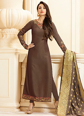 Malaika Arora Brown Embroidered Straight Suit