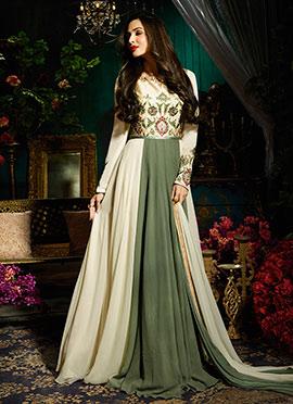 Malaika Arora Cream Abaya Style Anarkali Suit