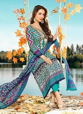 Malaika Arora Khan Blue Cotton Straight Pant Suit