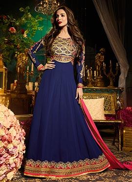 Malaika Arora Navy Blue Anarkali Suit