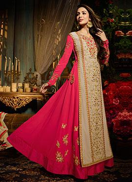 Malaika Arora Pink N Beige Anarkali Suit