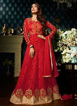 Malaika Arora Red Embroidered Anarkali Suit