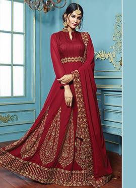 Maroon Abaya Style Anarkali Suit