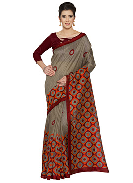Brown N Maroon Bhagalpuri Art Silk Saree