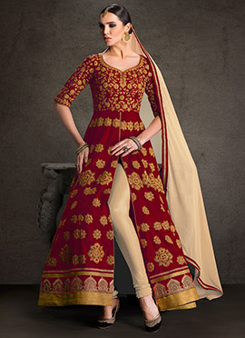 Maroon Ankle Length Anarkali Suit