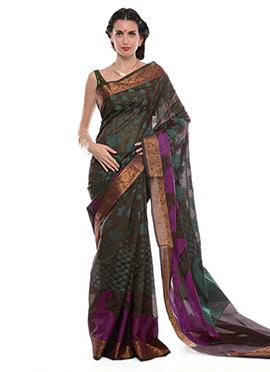 Maroon Art Benarasi Silk Resham Woven Saree