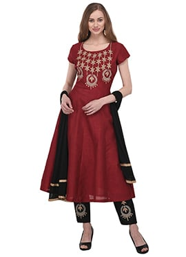 Maroon Art Bhagalpuri Silk Anarklai Suit