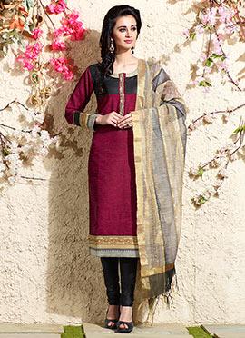 Maroon Art Chanderi Silk Cotton Churidar Suit