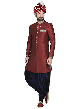 Maroon Art Dupion Silk Dhoti Style Sherwani