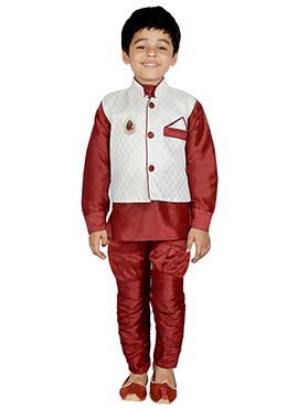 Maroon Art Dupion Silk Kids Bandi Set