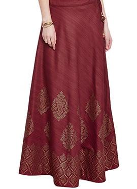 Maroon Art Dupion Silk Skirt