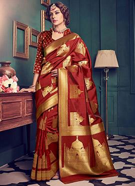 Maroon Art Kancheepuram Silk Saree