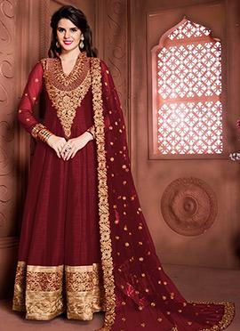 Maroon Art Silk Abaya Style Anarkali Suit