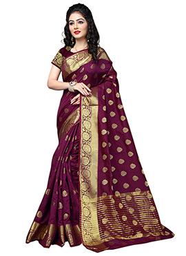Dark Magenta Art Silk Cotton Saree