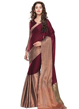 Maroon Art Silk Cotton Saree