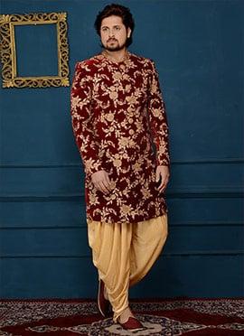 Maroon Art Silk Indowestern Sherwani