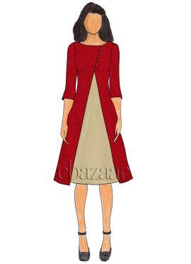 Maroon Art Silk Jacket Style Kurti