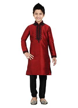Maroon Art Silk Kids Kurta Pyjama