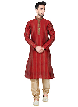 Maroon Art Silk Kurta Pyjama