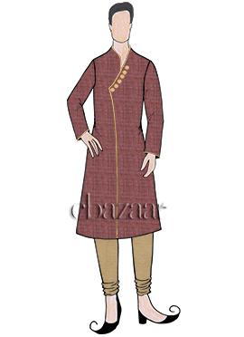 Maroon Art Silk Kurta Pyjama Set