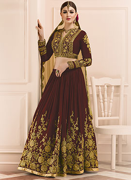 Maroon Art Silk Long Choli Umbrella Lehenga