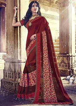 Maroon Art Silk N Net Saree