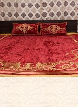 Maroon Art Silk N Velvet Bed Spread