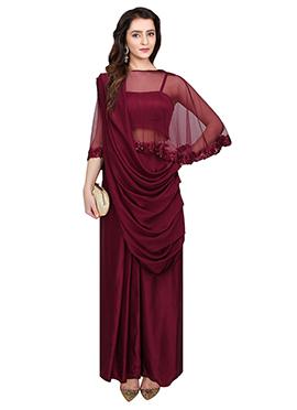 Maroon Art Silk Net Cape Style Gown