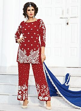 Maroon Art Silk Palazzo suit
