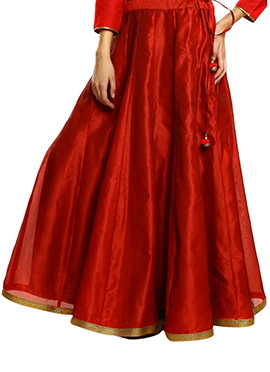 Red Art Silk Skirt