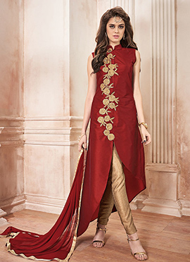 Maroon Art Silk Straight Pant Suit