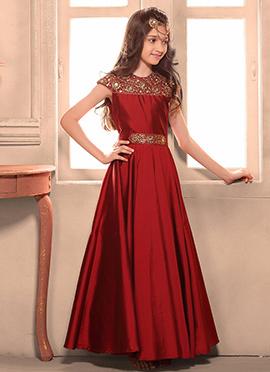 Maroon Art Silk Teens Gown