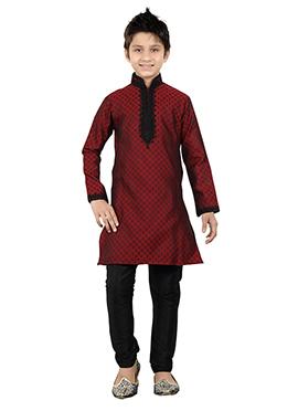 Maroon Art Silk Teens Kurta Pyjama